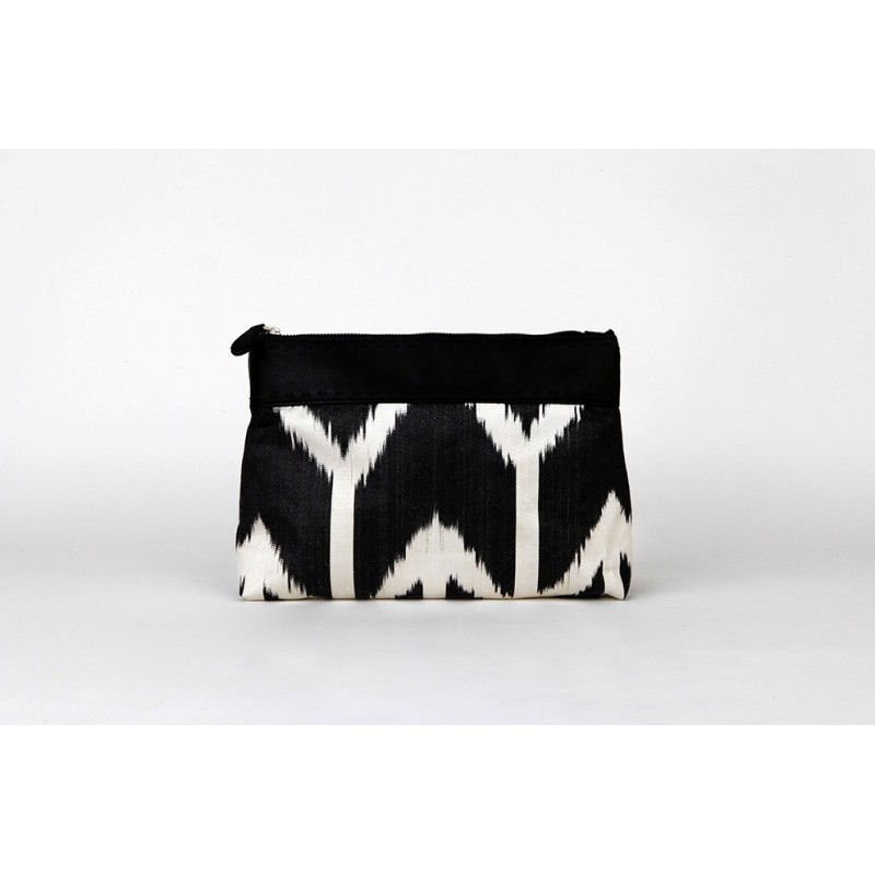 Ikat leather clutch