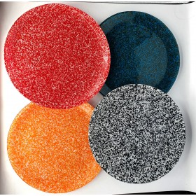 GLASS PLATE SET OF 4
