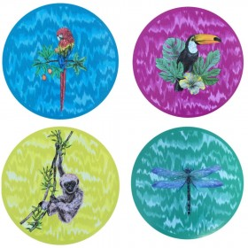 Set of 4 wooden tropical...