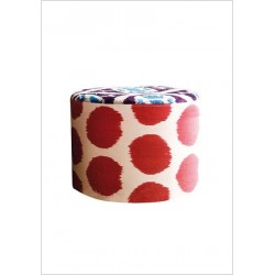 Pouf in ikat e velluto di seta RED-DOTS